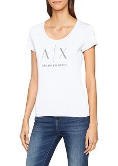 A X Armani Exchange Women's Logo Deep Scoop Neck Baby Fit Tee  L