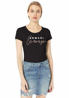 A X Armani Exchange Women's Logo Slim Fit Scoop Neck Tee  M