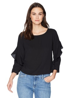 A|X Armani Exchange Women's Long Blouse with Ruffle Sleeves  L