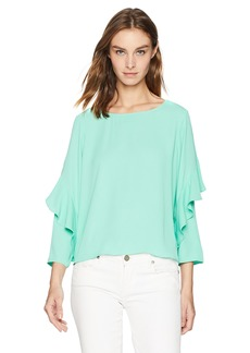 A|X Armani Exchange Women's Long Blouse with Ruffle Sleeves  S