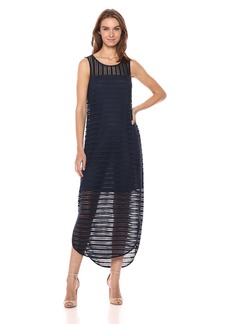 A|X Armani Exchange Women's Long Sheer Stripe Dress  XL