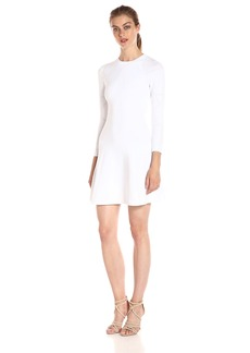 A|X Armani Exchange Women's Long Sleeve Crew Neck Fit and Flare Dress