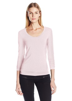 A|X Armani Exchange Women's Long Sleeve Logo Scoop Neck Tee