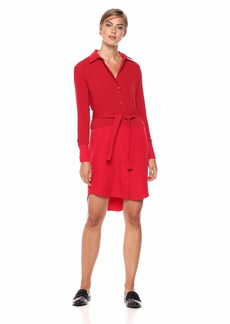 A|X Armani Exchange Women's Long Sleeve Shirt Tie Dress