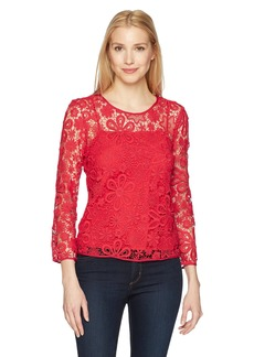 A|X Armani Exchange Women's Long-Sleeved Lace-Overlay Top  S
