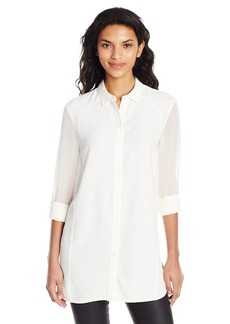 A X Armani Exchange Women's LS Collared Button up Thigh Length Shirt