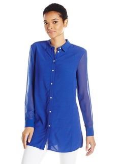 A|X Armani Exchange Women's Ls Collared Button Up Thigh Length Shirt
