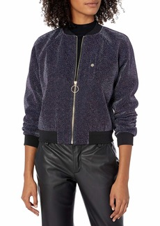 A|X Armani Exchange Women's Metallic Front Zipper Jacket with Cinched Cuffs and Waist  M