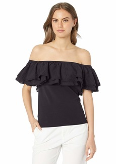 A|X Armani Exchange Women's Off The Off The Shoulder Ruffle Top  S