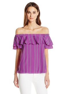 A|X Armani Exchange Women's Off The Shoudler Stripe Top