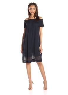 A|X Armani Exchange Women's Off The Shoulder Eyelet Knee Length Dress