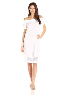 A|X Armani Exchange Women's Off the Shoulder Eyelet Knee Length Dress