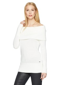 A X Armani Exchange Women's Off-The-Shoulder Fold-Over Sweater  M
