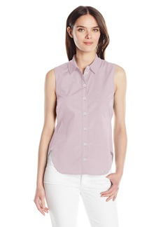 A|X Armani Exchange Women's Oxford Button up Sleeveless Top with Tie
