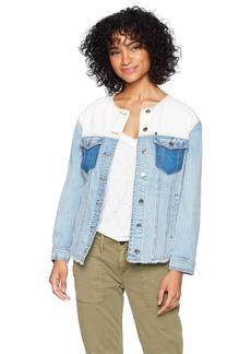 A|X Armani Exchange Women's Patchwork Denim Jacket Indigo L