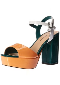 A|X Armani Exchange Women's Patent Leather Strappy Heel Heeled Sandal   Medium US