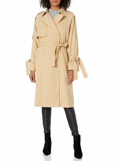 A X Armani Exchange Women's Pinstriped Notched Collar Trench Coat Toffee with Blueberry Jelly Stripes