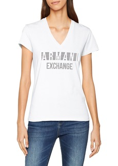 A|X Armani Exchange Women's Plaid Logo Slim Fit Deep V Tee  XL