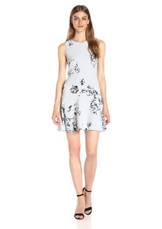 A|X Armani Exchange Women's Print Scoop Neck Sleeveless Skater Dress