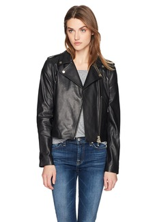 A|X Armani Exchange Women's Real Leather Moto Jacket  XS