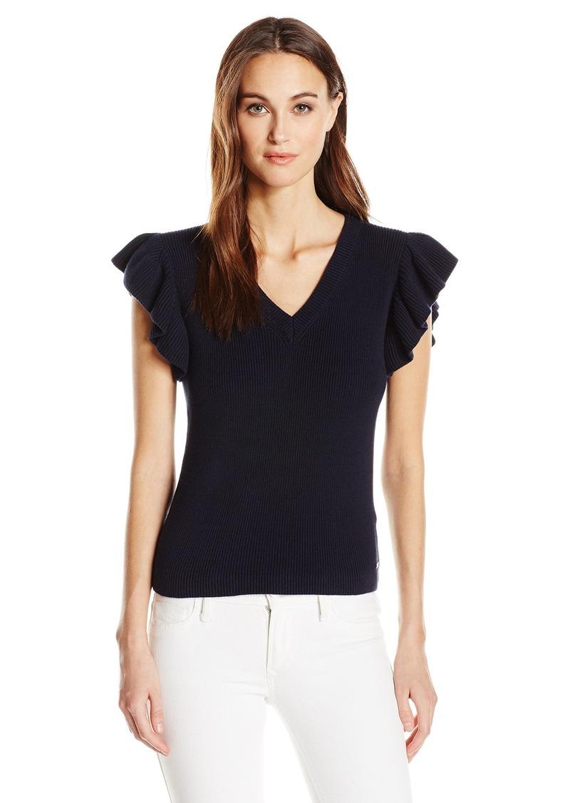 A|X Armani Exchange Women's Ruffle Sleeve V Neck Top