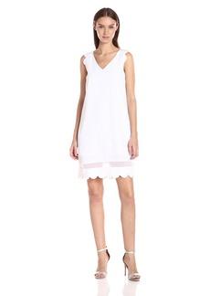 A|X Armani Exchange Women's Scallop Sleeveless Shift Dress