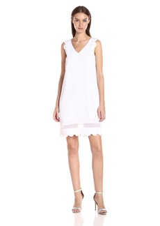 A|X Armani Exchange Women's Scallop Sleeveless Shift Dress