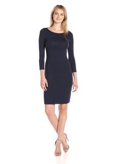 A|X Armani Exchange Women's Scoop Neck 3/4 Sleeve Knee Length Twist Back Detail Dress