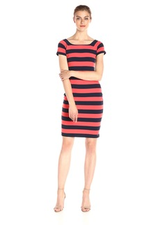 A|X Armani Exchange Women's Scoop Neck Cap Sleeve Knee Length Body Con Striped Dress