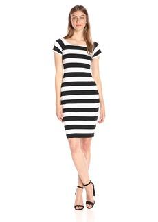A X Armani Exchange Women's Scoop Neck Cap Sleeve Knee Length Body Con Striped Dress