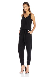 A|X Armani Exchange Women's Scoop Neck Double Spaghetti Strap Waist Tie Jumpsuit
