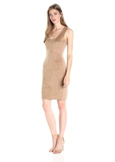 A|X Armani Exchange Women's Scoop Neck Sleeveless Suede above the Knee Dress