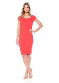 A|X Armani Exchange Women's Scoop Neck Slim Work Dress Poppy red M