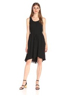 A|X Armani Exchange Women's Scoop Neck Waist Tie High Low Woven Dress