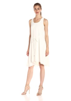 A|X Armani Exchange Women's Scoop Neck Waist Tie High Low Woven Dress
