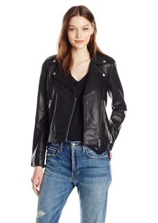 A|X Armani Exchange Women's Sheep Leather Moto Jacket