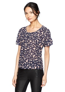 A|X Armani Exchange Women's Sheer Printed Short Sleeve Blouse  XS
