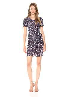 A|X Armani Exchange Women's Sheer Printed Short Sleeve Dress
