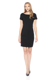 A|X Armani Exchange Women's Short Sleeve Buttoned Bodycon Dress  L