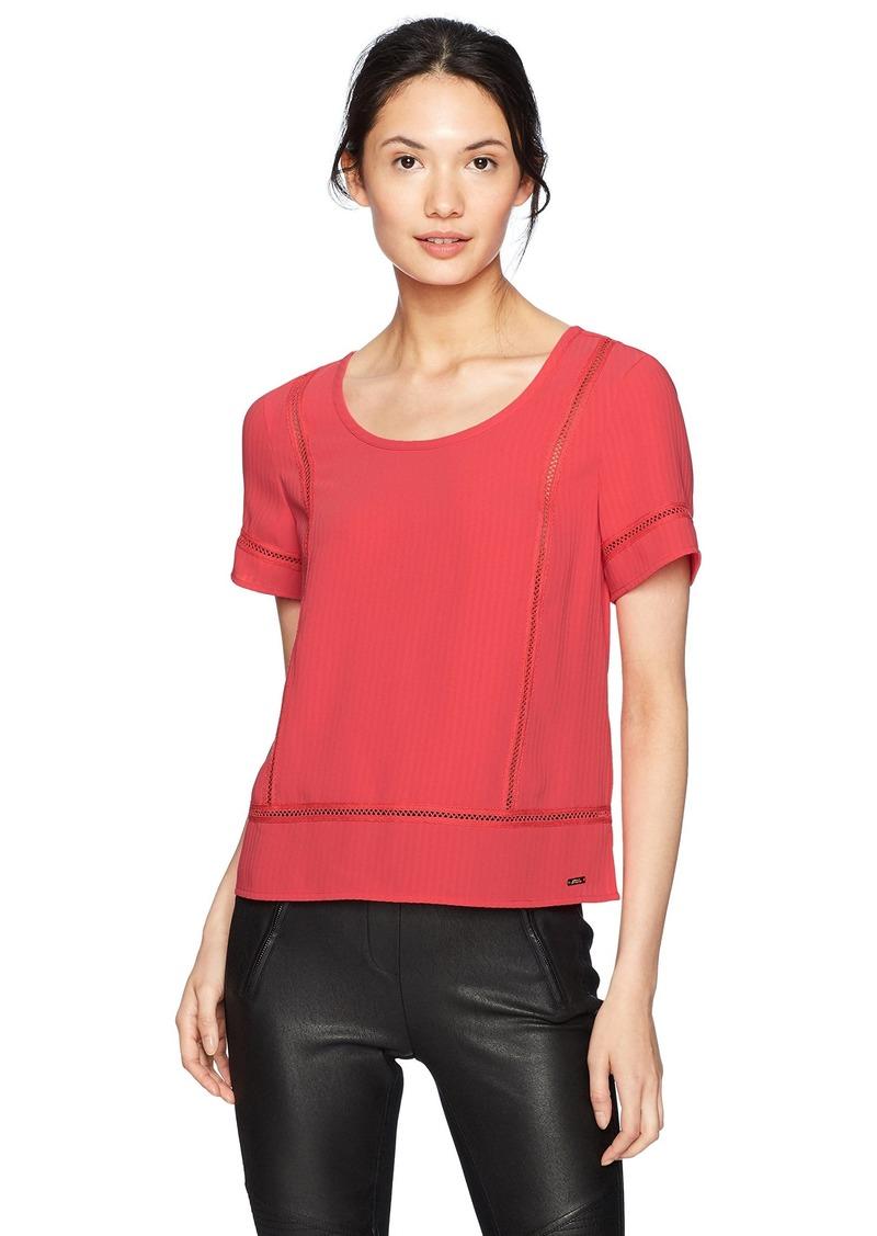A|X Armani Exchange Women's Short Sleeve Dobby Stripe Blouse  L