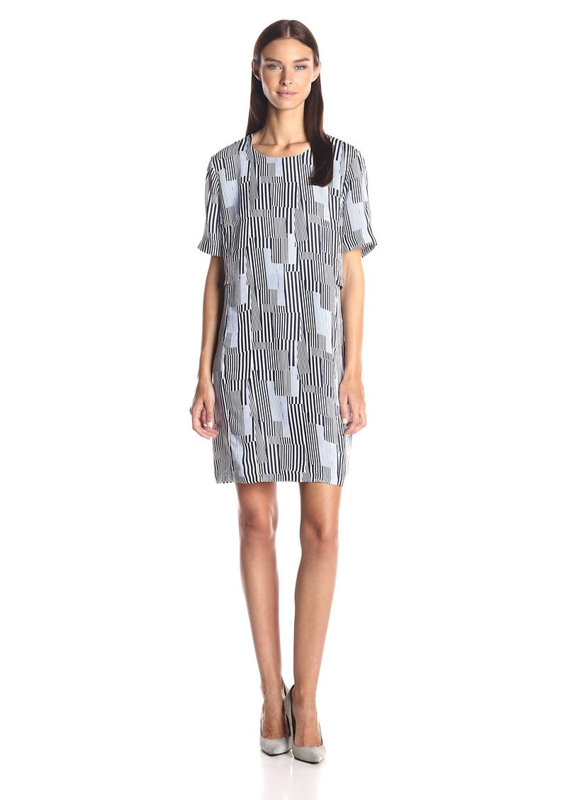 A|X Armani Exchange Women's Short Sleeve Double Layer Dress