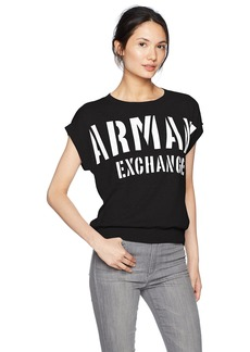 A|X Armani Exchange Women's Short Sleeve Logo Pullover  L
