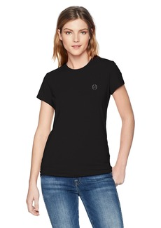 A|X Armani Exchange Women's Short Sleeve Scoop Neck Tee with Logo on Breast  L