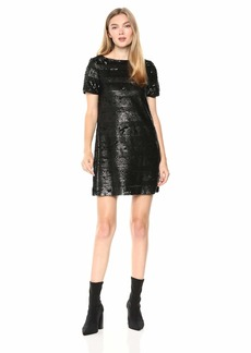 A|X Armani Exchange Women's Short Sleeve Sequin Dress