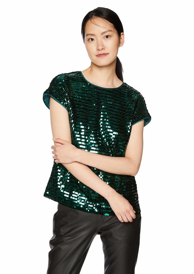 A|X Armani Exchange Women's Short Sleeve Sequin Top  S