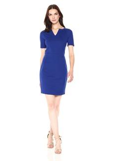 A|X Armani Exchange Women's Short Sleeve V Cut Neck Bodycon Dress  L