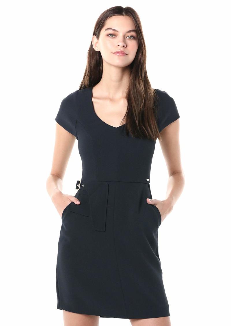 A|X Armani Exchange Women's Short Sleeved Mini Dress with Waistline Detailing