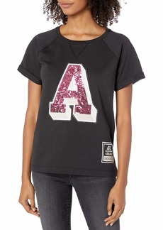 A|X Armani Exchange Women's Short Sleeved Relaxed Fit Shirt with Sequins A Graphic  L