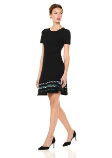 A|X Armani Exchange Women's Shortsleeve Skater Dress with Patterned Skirt Black+Jacquard Green S