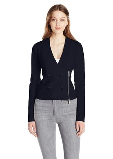 A|X Armani Exchange Women's Side Zip Double Breasted Stretch Blazer